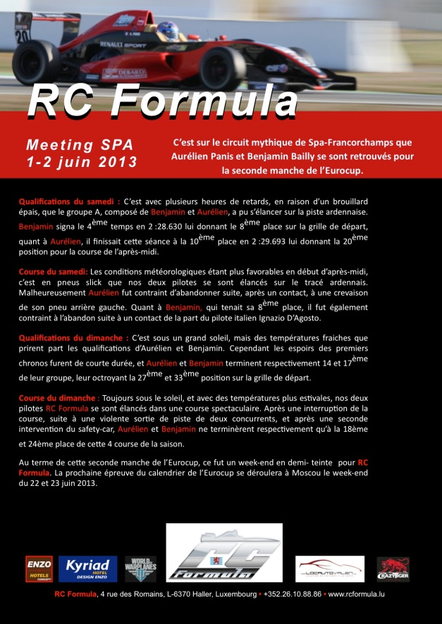 RCFormula communiqué - 20130603