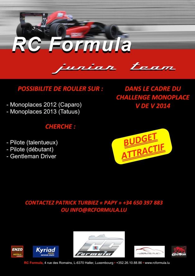 RCFormula communiqué junior team - VDEV