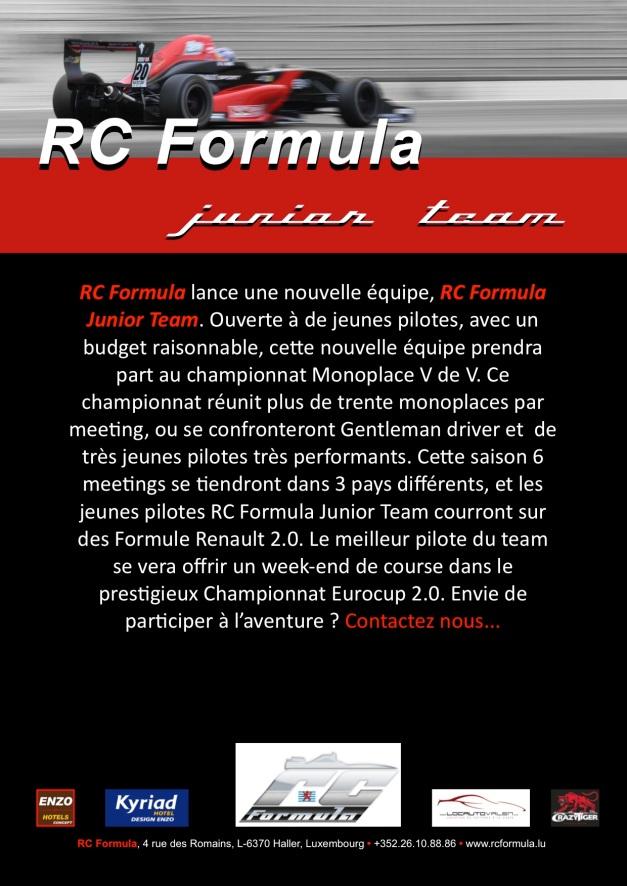 RCFormula communiqué junior team