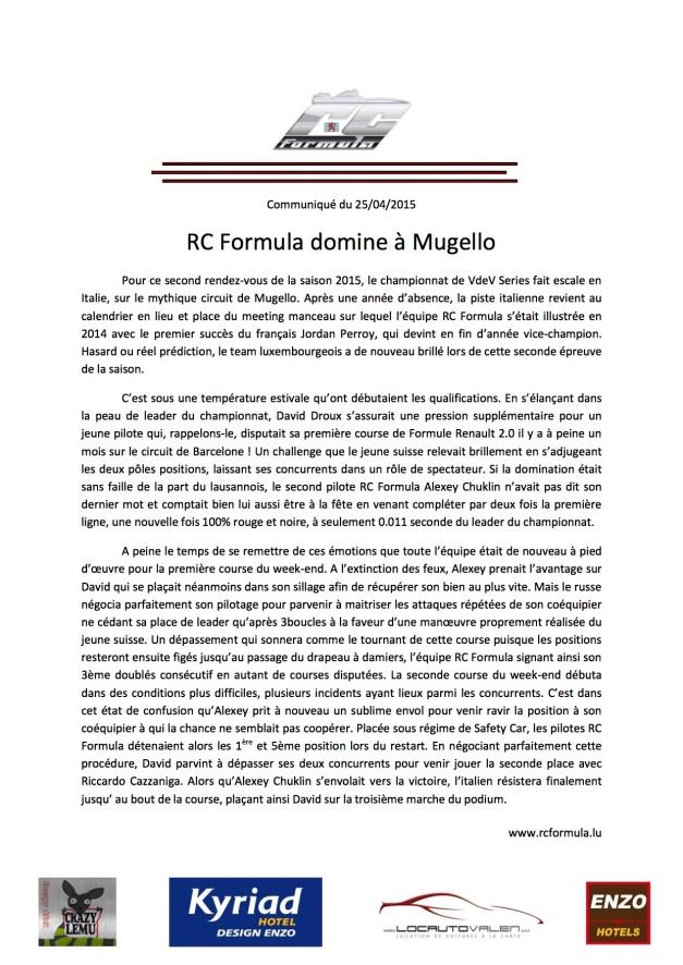 communiqué Mugello